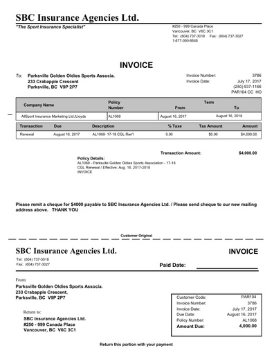 PGOSA Insurance Documents 2017 18 Invoice