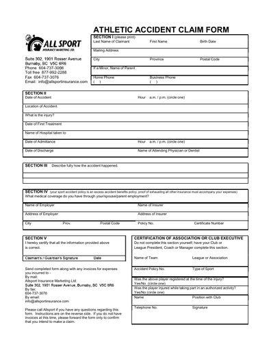 PGOSA Insurance Documents 2017 18 Claim Forms